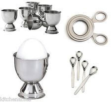 STAINLESS STEEL SOFT BOILED EGG Set - 6 Cups, 4 Spoons & Easy Egg Topper Cutter