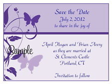 100 Personalized Custom Butterfly Lavender Purple Wedding Save The Date Cards