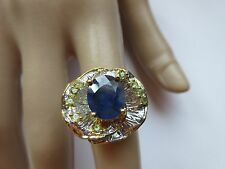 11X9 MM NATURAL BLUE  SAPPHIRE RING 2-TONE 925 STERLING SZ/7.5