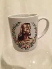 Vintage Jesus Christ Religious Rose Coffee Mug Cup Used Flowers Church Gift Lord