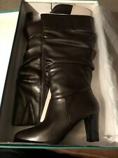"""NEW! DAVID TATE """"OREGON�?BROWN KNEE HIGH ZIP SIDE FASHION BOOTS - SIZE 9.5 WIDE!"""