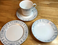 16Pc 1985 Sheffield Blue Whisper China Tea Cups w/ Saucers and Bowls w/ Saucers