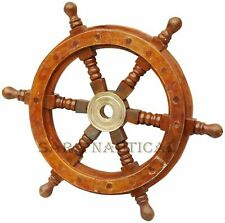 Wooden Ship Steering Wheel Nautical Pirate Wheel Decor Ship Wheel Maritime 24""