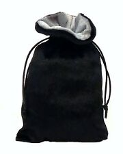 "New 5"" x 8"" Black Velvet Drawstring Dice Bag with Silver Velvet Lining"