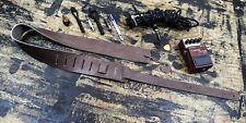 Guitar Strap Genuine Cowhide Leather Handmade USA Vintage Rock Goth Brown Oiled