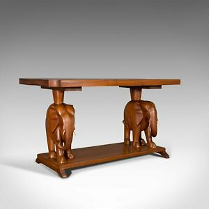 Vintage Decorative Coffee Table, Asian, Mahogany, Side, Elephants, Art Deco