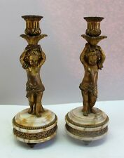 Pair of 19th C. French Gilt Bronze & Marble Figural Candlesticks c. 1900 antique