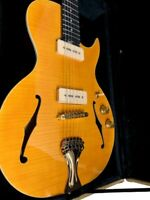 NEW LITTLE SISTER STYLE 6 STRING SEMI-HOLLOW CUTOUT ELECTRIC GUITAR + CASE