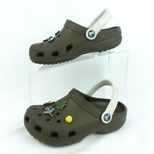 Crocs Slip On Shoes Green White Clogs Size 4W or 2M - Includes 8 Jibbitz
