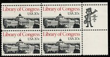 Scott 2004 Zip Block of four 20 cent Library of Congress MNH L1