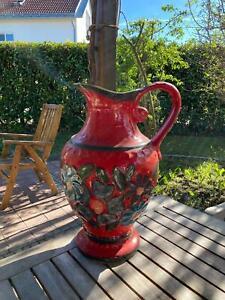 Bodenvase, Steingut,Keramik 50 cm hoch, rot mit Blumen verziert und Henkel