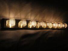 Mid Century Modernism Bent Acrylic Vanity 8 Bulb Light Fixture