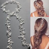 1PC Pearls Wedding Hair Vine Crystal Bridal Diamante Bride Flower Headware