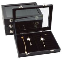 Ring Jewellery Display Storage Box Clear Tray Show Case Organizer Earring Holder