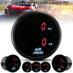 """2"""" 52mm Air Pressure Press Gauge PSI Air Suspension Meter Red LED Dual Digital"""