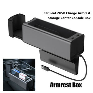 2 USB Car Seat Charge Armrest Storage Center Console Box Water Cup Holder Trim