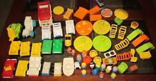 Vintage Fisher Price Little People LOT people cars tables chairs bed accessories