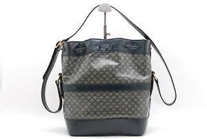 CELINE Macadam Pattern Shoulder Bag PVC Leather Navy Gray Drawstring Bag Auth