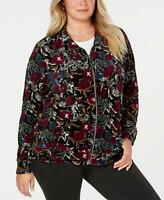 Karen Scott Womens Ladies Black Burgandy Floral  Velvet Casual Jacket Size 2X