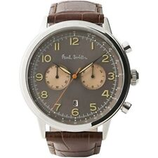 Paul Smith Men's Quartz Watch with Black Dial Chronograph Display and Brown Leat