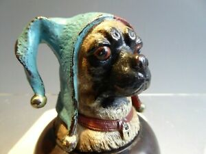 COLD PAINTED BRONZE INKWELL IN FORM OF A JESTER PUG DOG WITH BLUE LINER