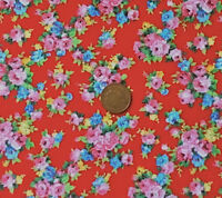 RED WITH POSIES OF PINK & BLUE FLOWERS - 100% COTTON FABRIC FQ'S