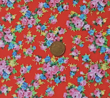 RED WITH POSIES OF PINK & BLUE FLOWERS - 100% COTTON FABRIC FQ