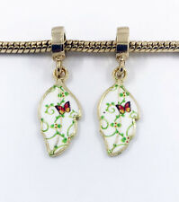 Fashion 2pcs Gold Leaves European Charm Spacer Beads Fit Necklace Bracelet  HOT
