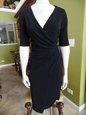 ANN TAYLOR Black Stretch Jersey Faux Wrap Dress ST