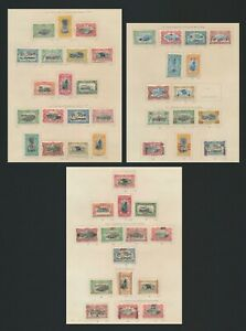 BELGIAN CONGO STAMPS 1910-1921 ALMOST COMPLETE 3 PAGES Sc #45-87 INC 1922 H/S