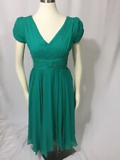 Suzi Chin for Maggy Boutique Emerald Green Silk V Neck Back Dress 10 Excellent