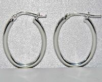 STERLING SILVER (925) OVAL HOOP LADIES CREOLE EARRINGS