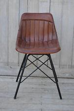 Lederstuhl Streifendesign braun/schwarz Schalenstuhl Echtleder Esszimmerstuhl