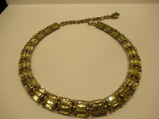 Vintage Art Deco BOGOFF Canary Yellow Rhinestone Arched Link Necklace
