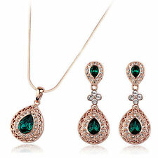 Rose Gold Plated Green Fashion Jewellery Sets