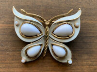 TRIFARI Goldtone White Butterfly Wings  Brooch Pin Vintage
