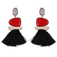 Earrings Golden Chandelier Pomon Tassel Multicolored Red Black BB18