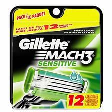 Gillette Mach 3 чувствительное лезвие для заправки картриджей, 12 штук