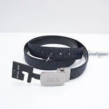 NWT Michael Kors Men's Cut to Size Reversible Belt 34mm PVC Leather Admiral Blue