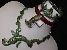MARGOT DE TAXCO VINTAGE STERLING SILVER GREEN ENAMEL FISH BRACELET AND NECKLACE