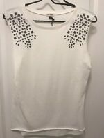 RIVER ISLAND Women's White Sleeveless Top Tee Shirt Size UK 6 EUR 32 US XS-S