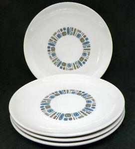 "4 Vintage MCM Canonsburg Pottery Temporama Salad Plates 7-3/8"""