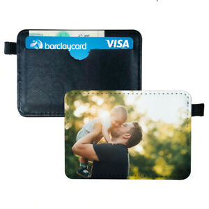 Mens Black Leather Photo Wallet Credit Card Holder Personalised Father Dad UK
