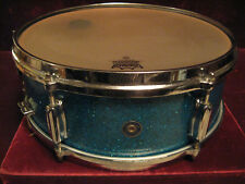 VTG 1960 Zim-Gar Beauty Blue Sparkle 3-Point Strainer+Die-Cast Hoops Snare Drum!