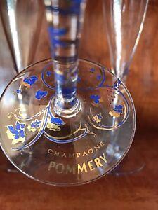 Set of 4 Vintage Pommery Champagne Flutes - Blue and Gold Decorative Stem + Base