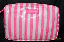 Victorias Secret Signature Stripe Sequins Bling Makeup Bag NWT