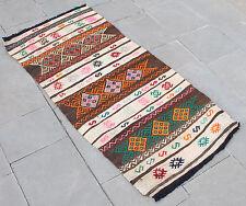 Turkish Kilim Rug 25''x53'&# 039; Hand Woven Konya Cicim Kilim 66x135cm