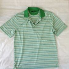Men's Greg Norman Play Dry Golf Polo Size Large Green Striped