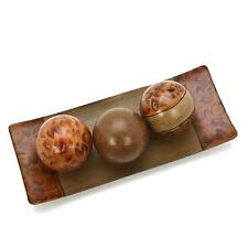 """Decorative Bowl/Tray and Orb/Ball Set 15"""" Long Brown Burlwood Home Accent Piece"""