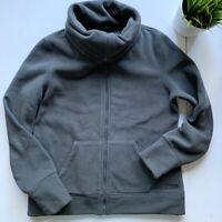 CALVIN KLEIN Gray Fleece Cowl Neck Turtleneck Jacket Women's SMALL EUC